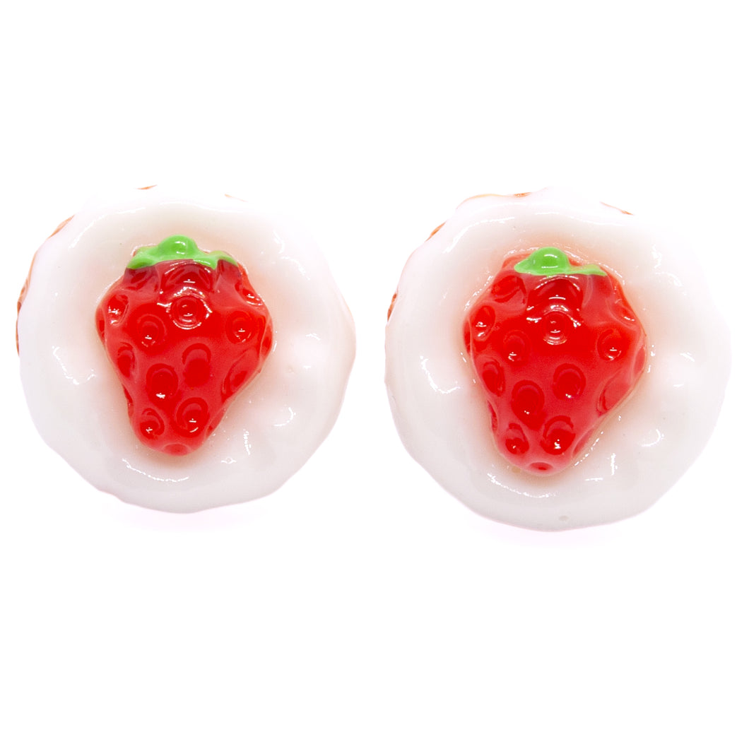 White Strawberry Tart Earrings