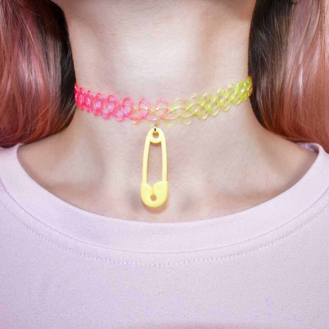 Multicolour Safety Pin Choker
