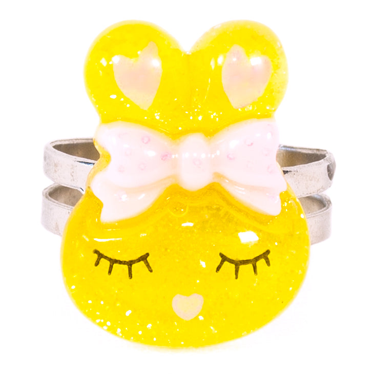 Yellow Sparkly Bunny Ring