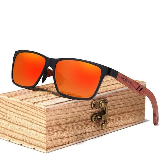 Lunette Bois Lentille Mirroir Orange