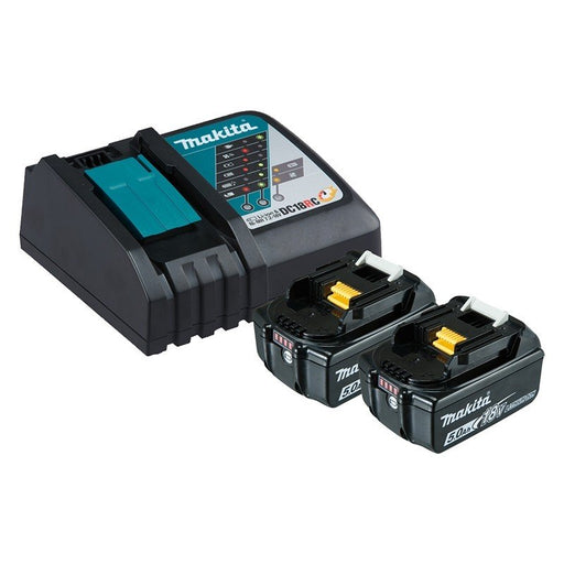 Makita 18V Single Port Rapid Battery Charger with 2 x 5.0Ah battery 199179-3