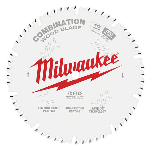 "Milwaukee 10"" 254mm 50T Combination Blade 48408026"