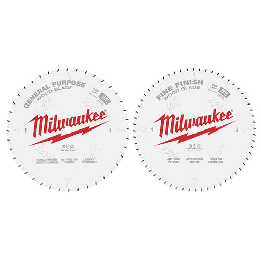 "Milwaukee 10"" 254mm 40T General Purpose Blade + 60T Fine Finish Blade - 2 Pack 48408036"