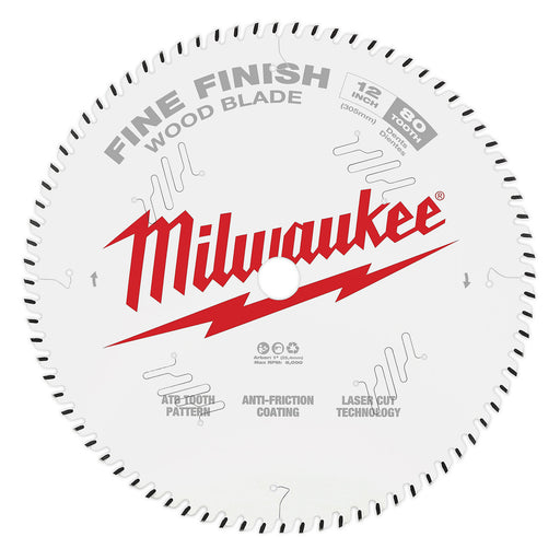 "Milwaukee 12"" 305mm 40T Fine Finish Blade 48408224"