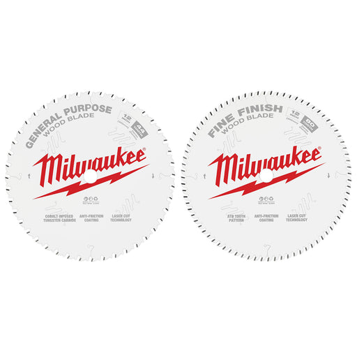 "Milwaukee 12"" 305mm 44T General Purpose Blade + 80T Fine Finish Blade - 2 Pack 48408232"