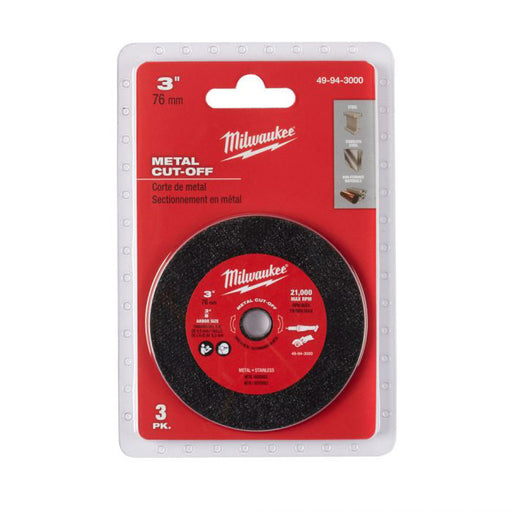 "Milwaukee M12 FUEL 3"" Compact Cut Off Tool Metal Cut-Off Disc 3 pack 49943000"