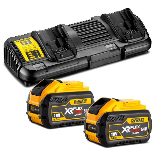DeWalt 18V-54V Flexvolt Battery Dual Port Charger & 9.0Ah Batteries DCB547-XE