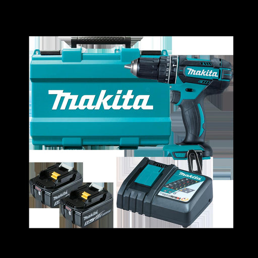 Makita 18V Hammer Driver Drill Kit - Includes 2 x 5.0Ah Batteries, Rapid Charger & Carry Case DHP482RTE