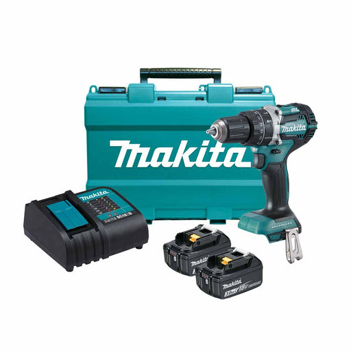Makita 18V COMPACT BRUSHLESS Heavy Duty Hammer Driver Drill Kit - Includes 2 x 3.0Ah Batteries, Charger & Carry Case                DHP484SFE