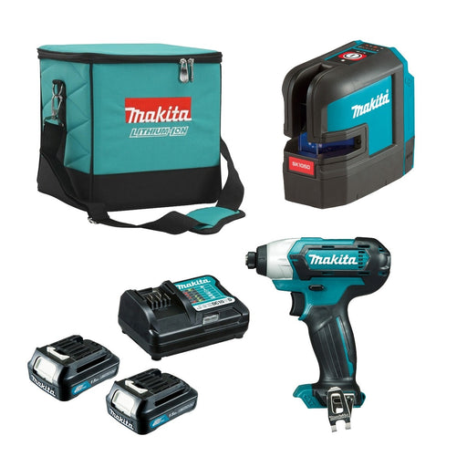 Makita 12V Red Cross Line Laser + Impact Driver 1.5Ah Set CLX221X1