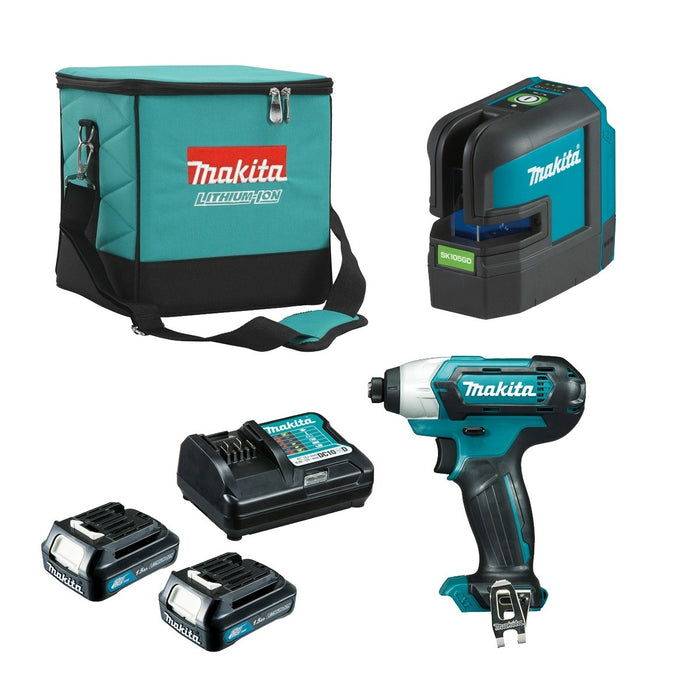 Makita 12V Green Cross Line Laser + Impact Driver 1.5Ah Set CLX221X2