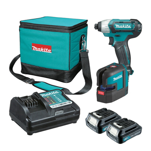 Makita 12V Red Cross Line Laser + Impact Driver 1.5Ah Set CLX222X1