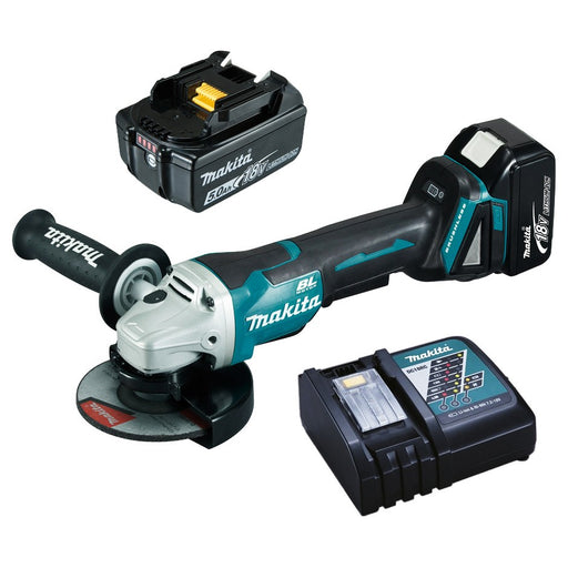 Makita 18V BRUSHLESS 125mm Paddle Switch Brake Angle Grinder Kit  DGA508RTE