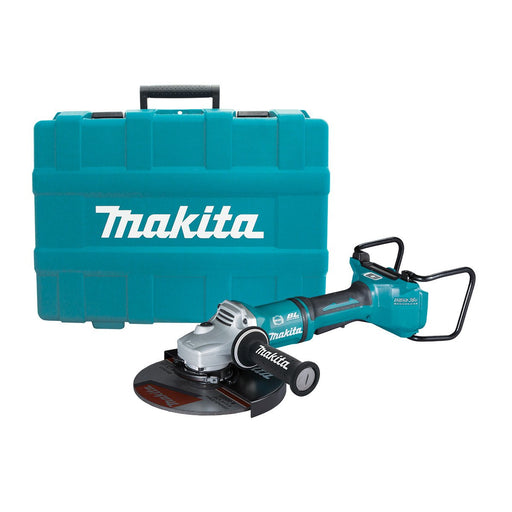 Makita 18Vx2 BRUSHLESS AWS 230mm Angle Grinder, Paddle Switch, Kick Back Detection, Electric Brake, Anti-Vib Handle & Carry Case - Tool Only DGA901ZKU1