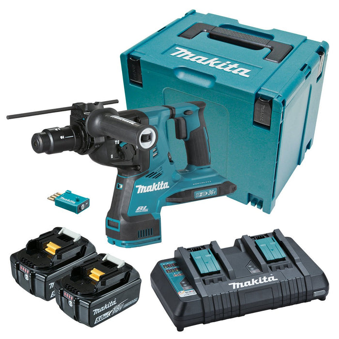 Makita 18Vx2 AWS 28mm SDS Plus Rotary Hammer 5.0Ah Set DHR283PT2JU