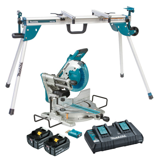 "Makita 18Vx2 BRUSHLESS AWS 260mm (10-1/4"") Slide Compound Saw (DLS111PT2U) & Mitre Saw Stand (WST06) - Tool Only DLS111PT2UX"