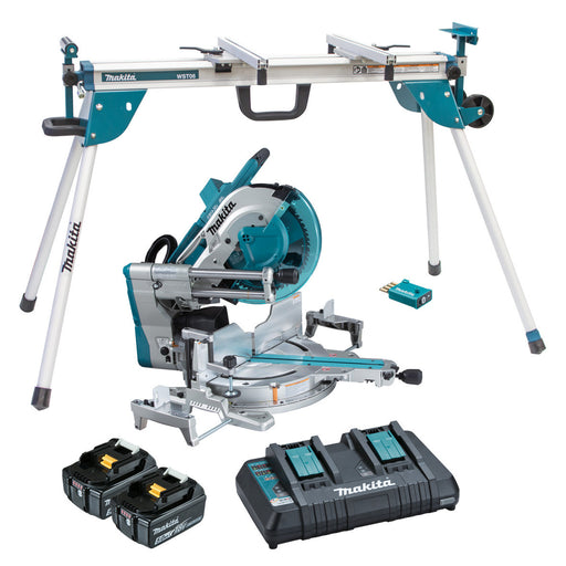 "Makita 18Vx2 BRUSHLESS AWS 305mm (12"") Slide Compound Saw Kit (DLS211PT2U) & Mitre Saw Stand (WST06) - Tool Only DLS211PT2UX"