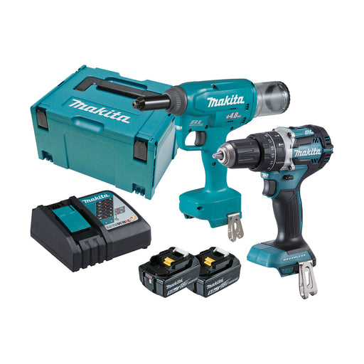 Makita 18V 2 Piece 4.8mm Riveter/Hammer Drill 5.0ah Set DLX2367TJ