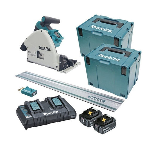Makita 18Vx2 AWS 165mm Plunge Cut Circular Saw 5.0Ah Set with Track DSP601PT2JUT
