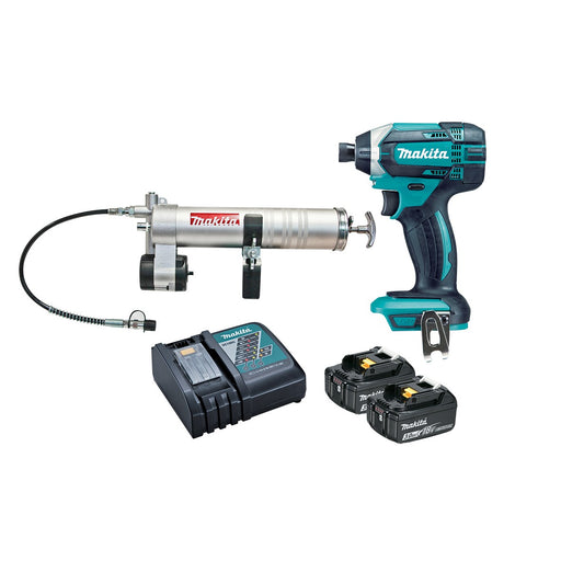 Makita 18V Impact Driver 3.0Ah Set and Grease Gun Attachment DTD152RFEX