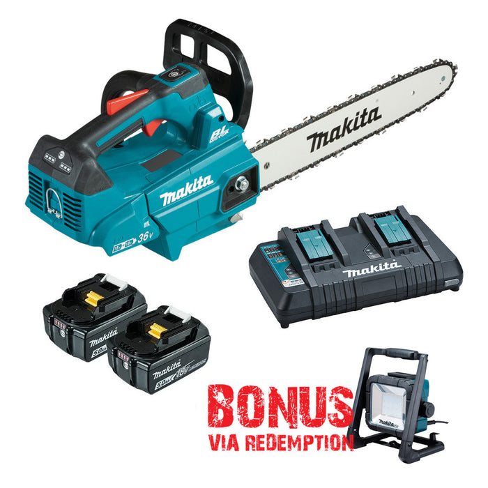 Makita 18Vx2 300mm BRUSHLESS Top Handle Chainsaw - Includes 2 x 5.0Ah Batteries & Dual Port Rapid Charger DUC306PT2