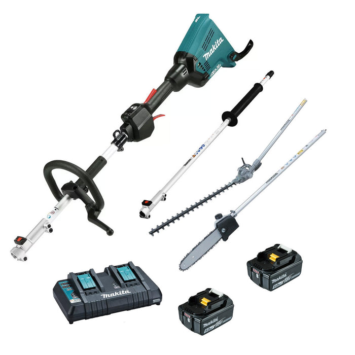 Makita 18Vx2 Multi-Function Power Head with Attachments 5.0Ah Kit DUX60PSHPT2