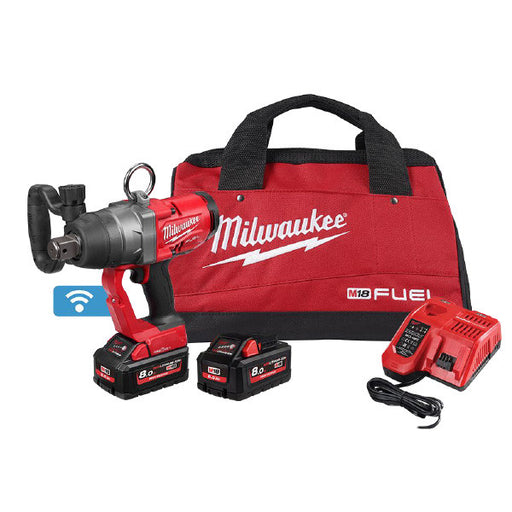 "Milwaukee 18V Fuel ONE-KEY 1"" High Torque Impact Wrench 8.0Ah Set M18ONEFHIWF1-802B"