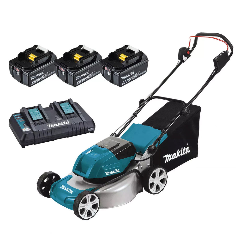 "Makita 18Vx2 BRUSHLESS 460mm (18"") Lawn Mower Kit, bar blade - Includes 3 x 5.0Ah Batteries & Dual Port Rapid Charger DLM461PT3"