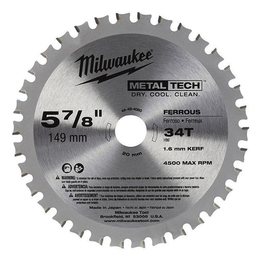 "Milwaukee Metal Saw Blade 149mm (5 7/8"") 34T - Ferrous Metals (Suits M18 Fuel Metal Saw) 48404080"