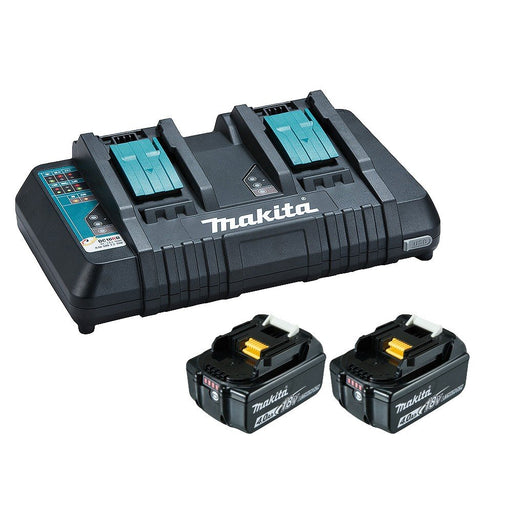 Makita 18V Same Time Dual Port Rapid Battery Charger with 2 x 5.0Ah battery 198928-5