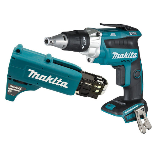 Makita 18V BRUSHLESS High Torque Screwdriver, Autofeed Collated Screwgun Attachment - Tool Only DFS250ZX2