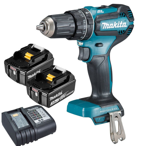 Makita 18V BRUSHLESS Hammer Driver Drill Kit - Includes 2x 3.0Ah Batteries, Charger & Carry Case DHP485SFE