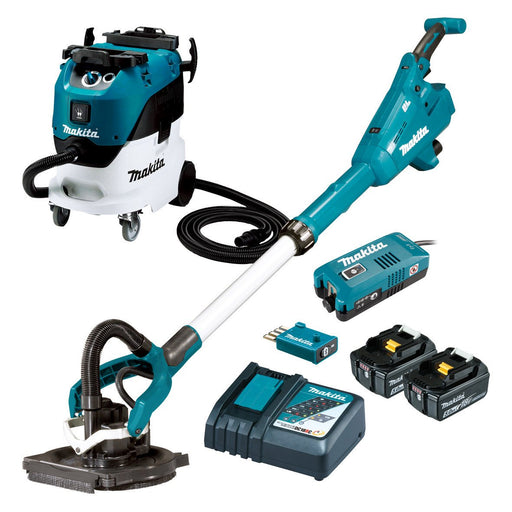 Makita 18V AWS 225mm Drywall Sander & Wet/Dry Dust Extractor 5.0Ah Set DSL800RT-VC42L