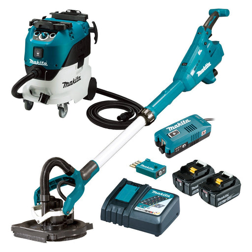 Makita 18V AWS 225mm Drywall Sander & Wet/Dry Dust Extractor 5.0Ah Set DSL800RT-VC42M