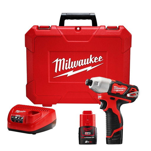 "Milwaukee M12 1/4"" Hex Cub-Compact Impact Driver - 2 x 2.0Ah Batteries, Charger, Carry Case M12BID-202C"