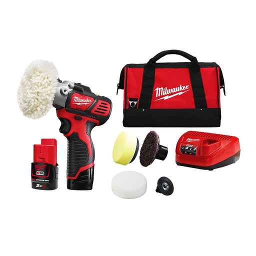 Milwaukee M12 Spot Polisher/Detail Sander Kit - 2 x 2.0Ah Battery, Charger, Contractor Bag M12BPS-202B