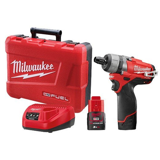 Milwaukee M12 FUEL ScrewDriver 1/4in Hex -  2 x 3.0Ah Batteries, Charger, Carry Case M12CD-302C