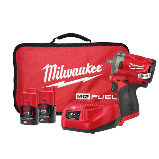 "Milwaukee M12 FUEL Stubby 3/8"" Impact Wrench - 2 x 2.0Ah Batteries, Charger, Contractor Bag M12FIW38-202B"