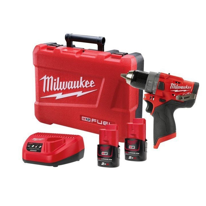 Milwaukee M12 FUEL Hammer Drill Driver Kit - 2 x 2.0Ah Batteries, Charger, Carry Case M12FPD-202C