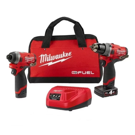Milwaukee M12 FUEL Power Pack (FPD,FID) - 1 x 4.0Ah, 1 x 2.0Ah, Charger, Contractor Bag M12FPP2A-421B
