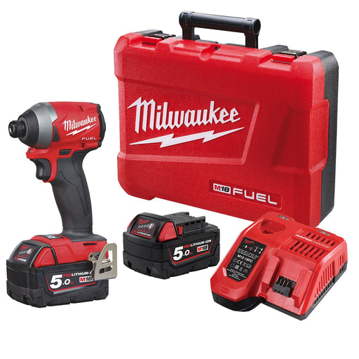 "Milwaukee M18 FUEL 1/4"" Hex Impact Driver - 5.0Ah Kit M18FID2-502C"