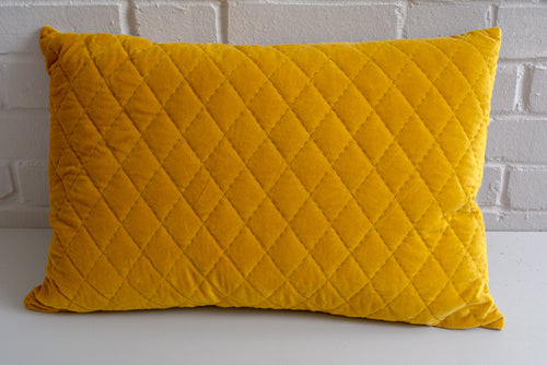 Mustard Velvet Quilted Cushion - SOLD OUT