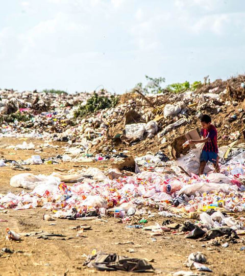 Landfill with plastic waste