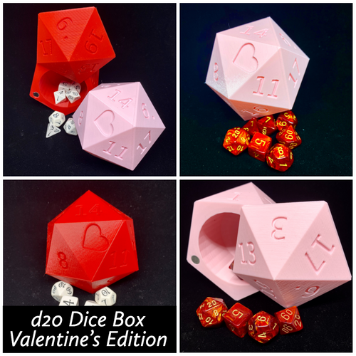 Valentine Edition d20 Heart Dice Case - Gift Box Storage Container - Large Fits 13 d6
