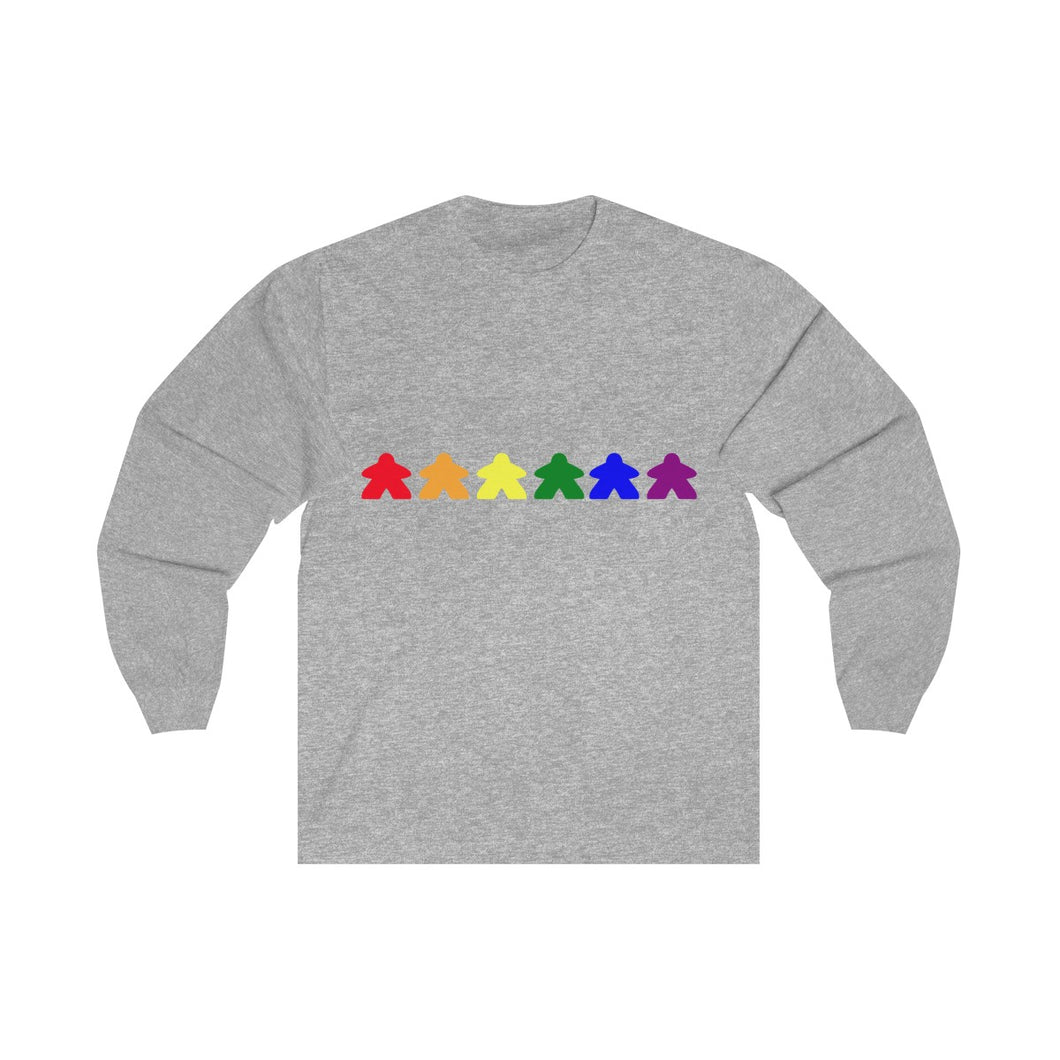 Meeple Rainbow Long Sleeve Tee