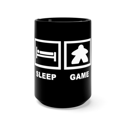 Eat Sleep Play Board Games Repeat Black Mug 15oz