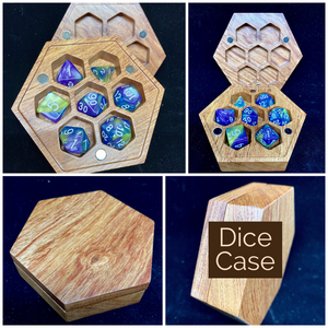 Hexagonal Dice Case - Magnetized Storage Container - Fits 7 16mm Dice