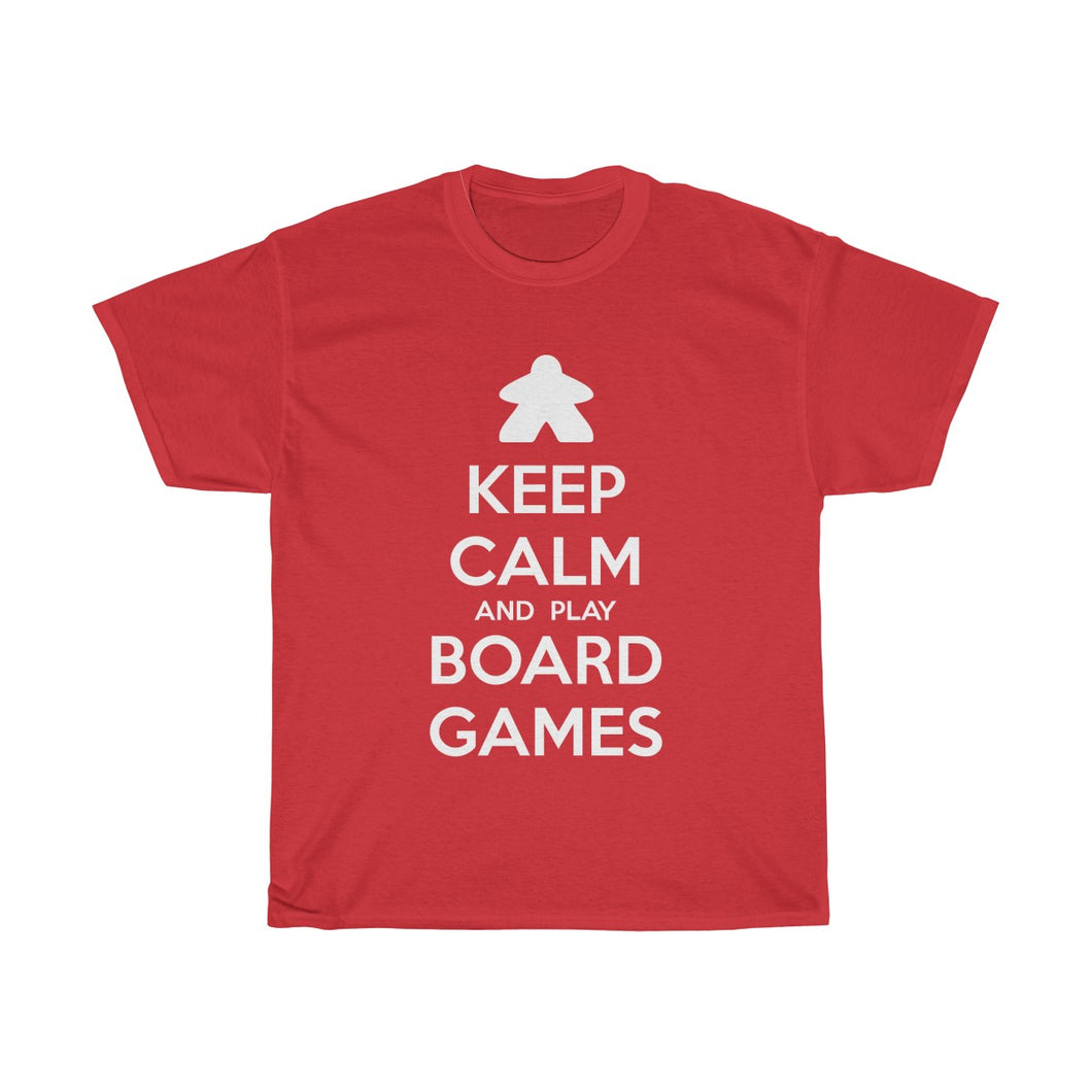 Keep Calm and Play Board Games Heavy Cotton Tee T-Shirt