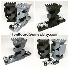 "Load image into Gallery viewer, Castle Dice Tower with Folding Dice Trays - Double Sided - 5 1/8"" tall"