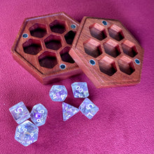 Load image into Gallery viewer, Wood Dice Case - Magnetized Storage Container - Fits 7 16mm Dice